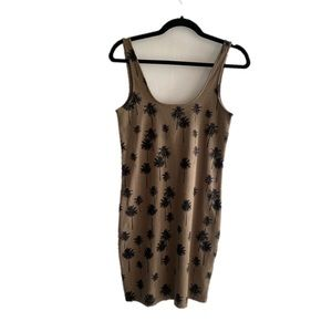 Ribbed NWOT palm tree print tank dress